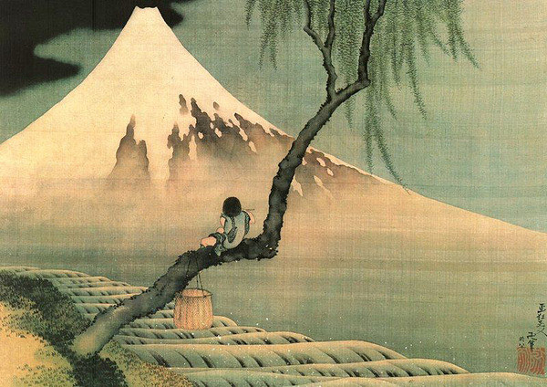 Katsushika Hokusai - mount fuji and fisherboy in a willow tree Affiche