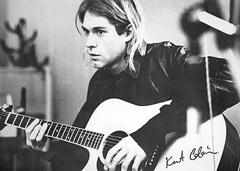 Kurt Cobain - guitar b&w PY Affiche