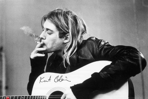 Kurt Cobain - smoking Affiche