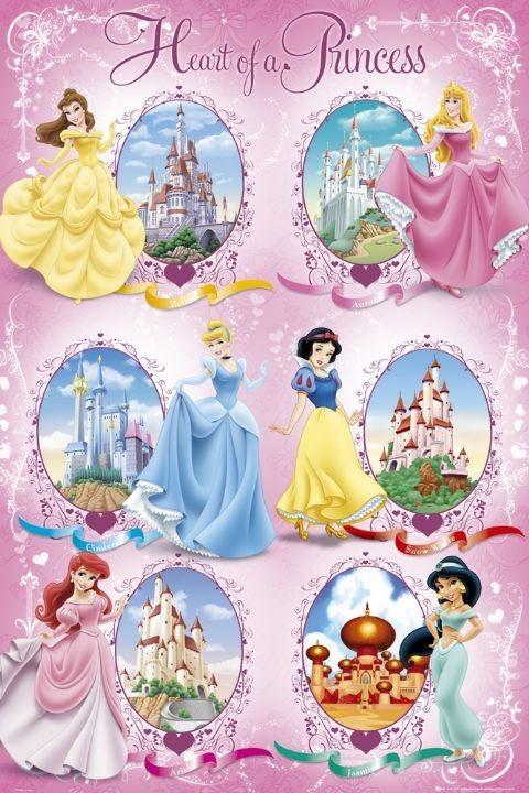 LES PRINCESSES DISNEY - castles Affiche