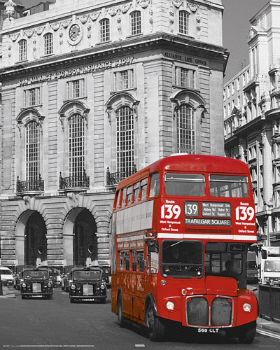 LONDON - red bus Affiche