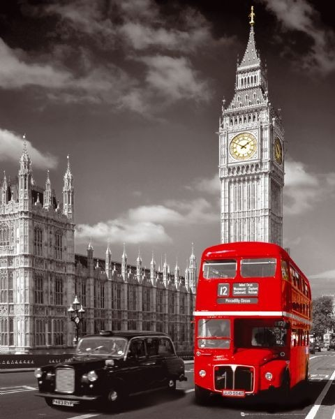 Londres - big ben / bus Affiche