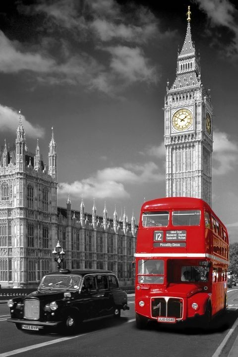 Londres - piccadilly bus Affiche