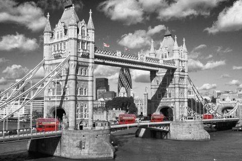 Londres - tower bridge buses Affiche