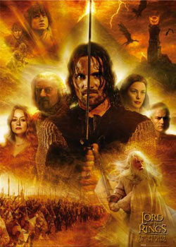 Lord of the Rings - heroes flames Affiche