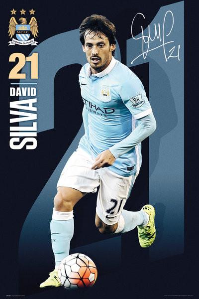 Manchester City FC - Silva 15/16 Affiche
