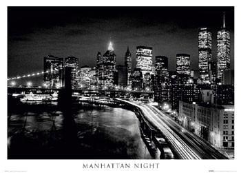 Manhattan - night b&w Affiche