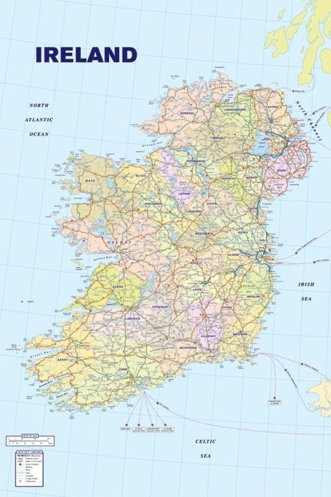 Map of Ireland Affiche