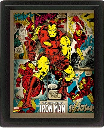 Marvel Retro - Iron Man  Poster en 3D encadré
