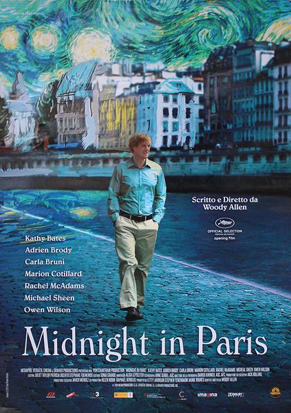MINUIT À PARIS - woody allen Affiche