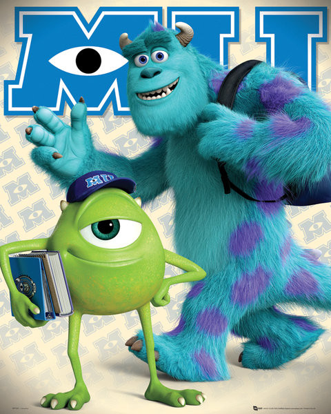 MONSTERS UNIVERSITY - mike &sulley Affiche