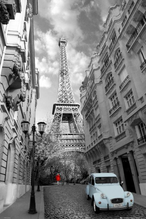 Paris - red girl blue car Affiche