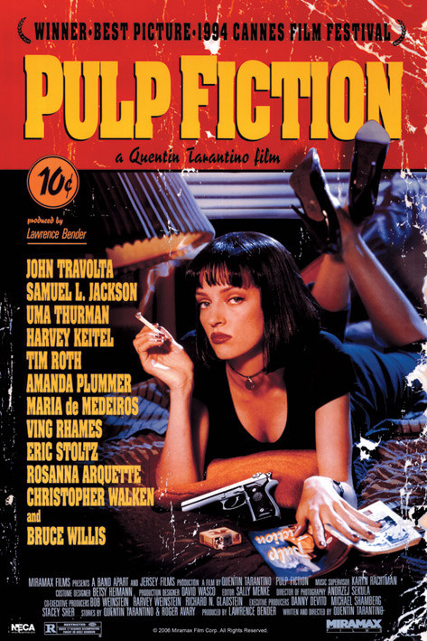 PULP FICTION - uma on bed Affiche