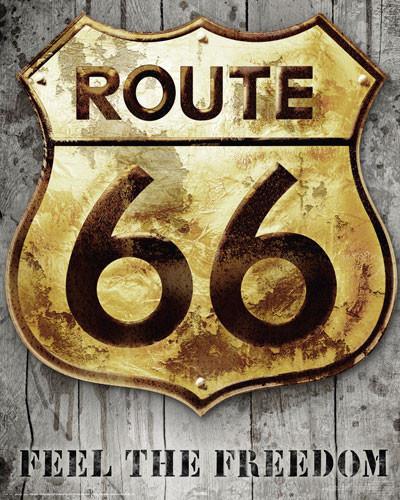 ROUTE 66 - golden sign Affiche
