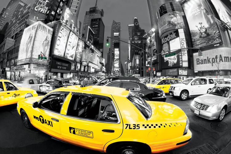Rush hour Times square - Yellow cabs Affiche
