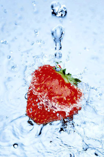 Strawberry on ice Affiche