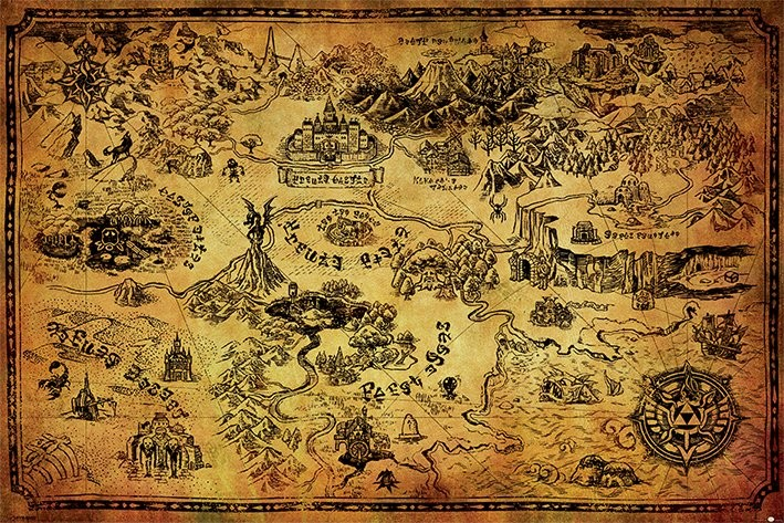 The Legend Of Zelda - Hyrule Map Affiche