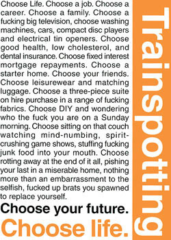 TRAINSPOTTING - choose life Affiche