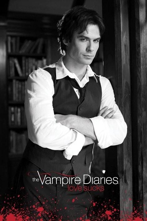 Vampire Diaries - Damon (B&W) Affiche