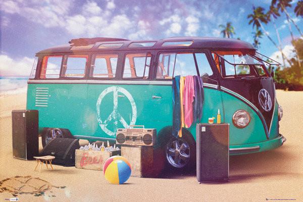 VW Volkswagen Camper - party Affiche