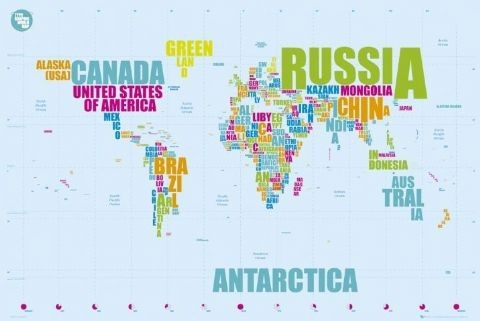 World map in words Affiche