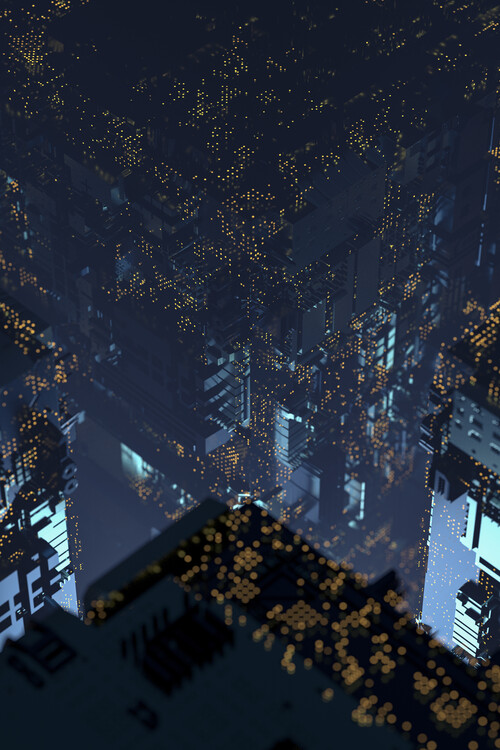 Taide valokuvaus A futuristic city with led lights series 2