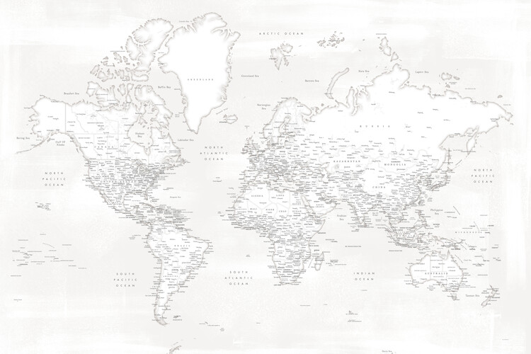 Map Almost white detailed world map