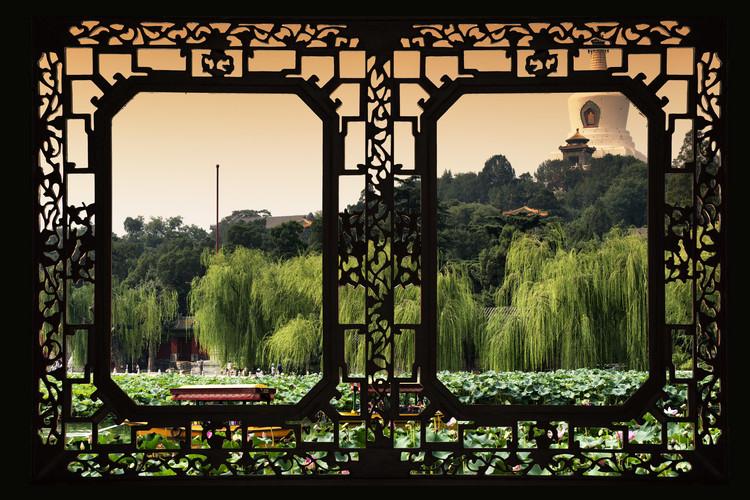 Art Photography Asian Window - Lotus Flowers