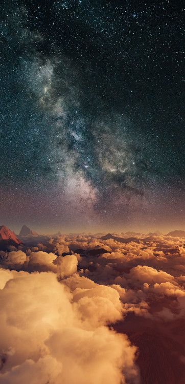 Art Photography Astrophotography picture of 3D landscape with milky way on the night sky.