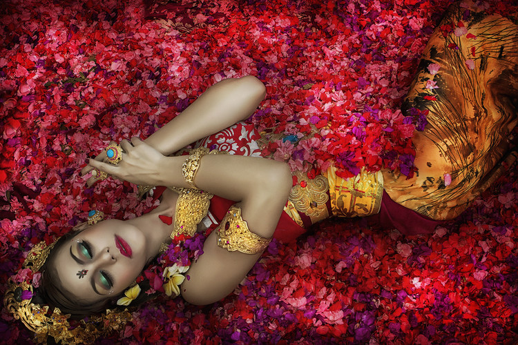 Art Photography Balinese Woman Among The Flowers
