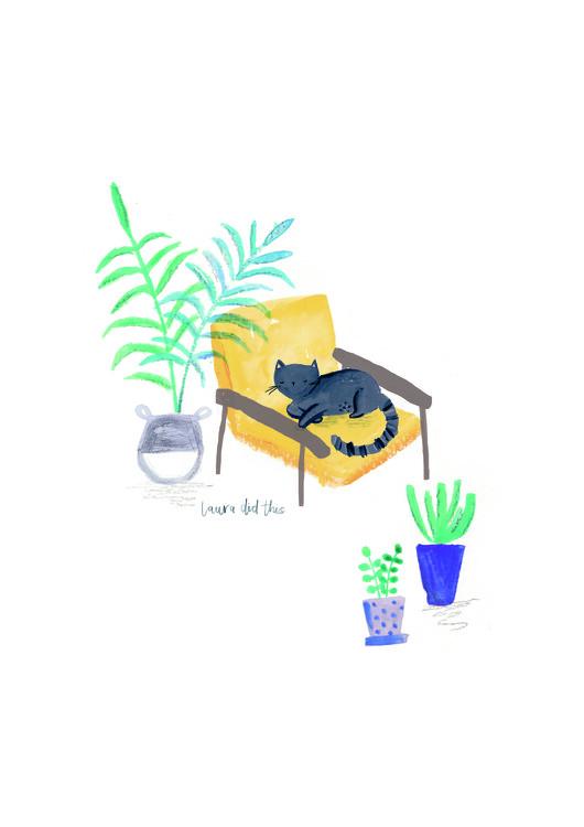 Illustration Black cat on mustard scandi chair