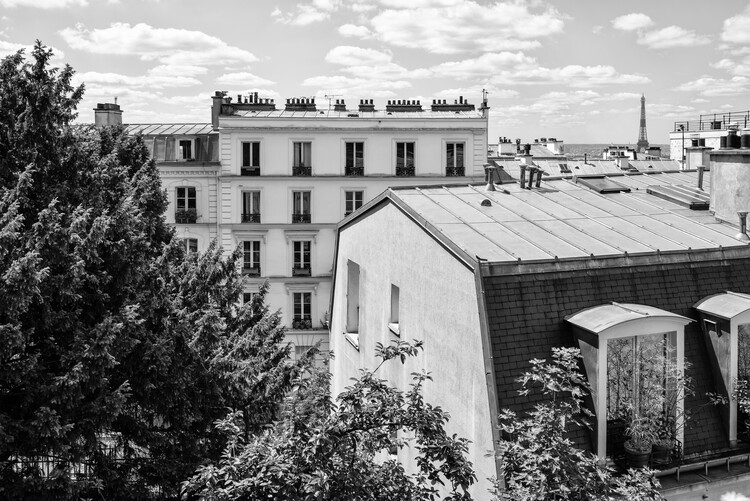Art Photography Black Montmartre - View over the Rooftops of Paris