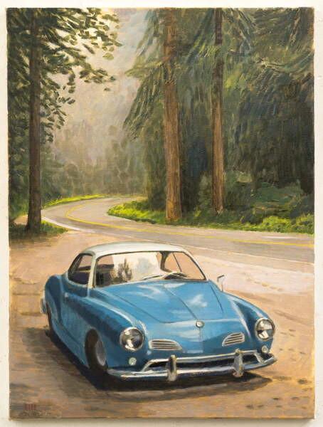 Car Show by the Lake Canvas Wall Art Print Car Home Decor