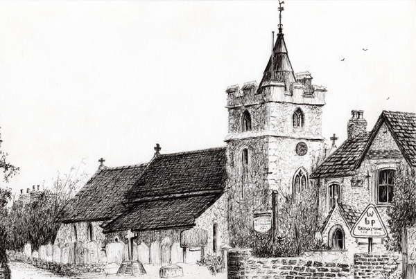 Fine Art Print Brighstone Church I.O.W., 2008,