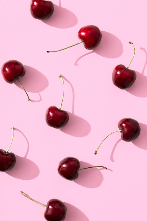 Art Photography Cherries on pink background