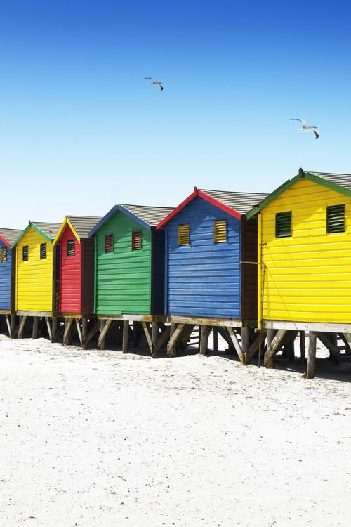 Art Photography Colorful Beach Huts on Muizenberg