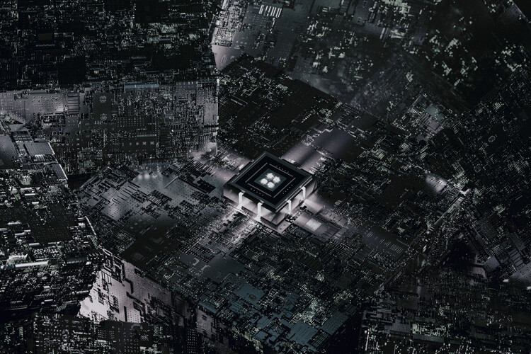 Art Photography Detail of a futuristic grey atmosphere with a cpu series 1