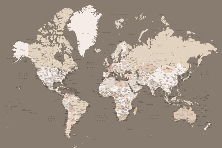 Map Earth tones detailed world map with cities