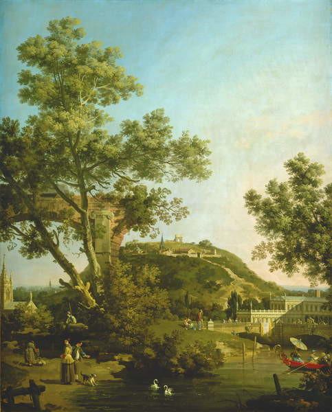 Fine Art Print English Landscape Capriccio with a Palace, 1754