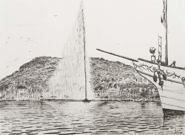 Fine Art Print Geneva fountain and bow of pleasure cruiser, 2011,