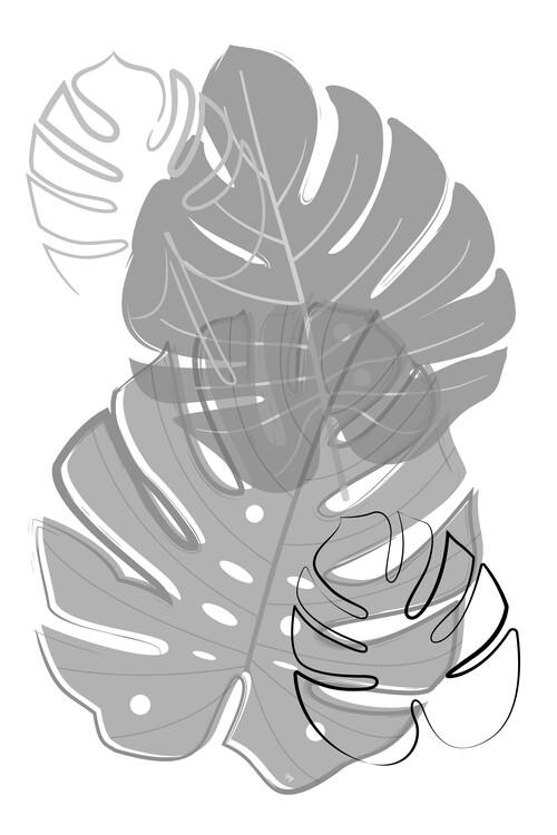 Illustration Grey leaves