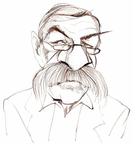 Fine Art Print Günter Grass, German novelist, poet, playwright and artist; caricature