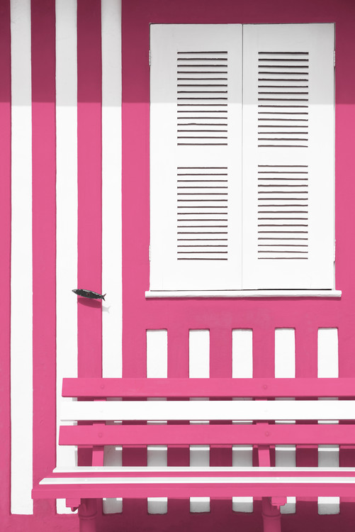 Art Photography House facade with Pink and White Stripes