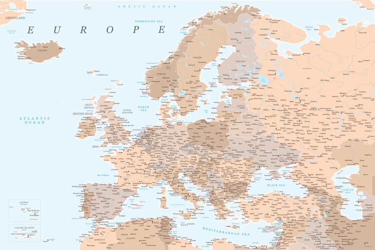 Map Light brown and blue detailed map of Europe