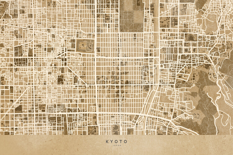 Map Map of Kyoto, Japan, in sepia vintage style