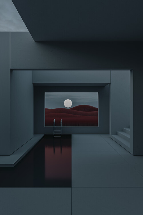 Art Photography Minimal interior with a red field at night series 2