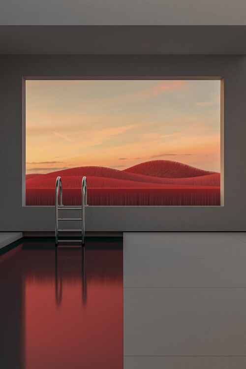 Art Photography Minimal interior with a red field at sunset series 1