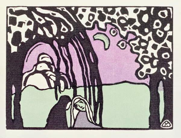 Fine Art Print Moonrise, from 'Der Blaue Reiter', 1911