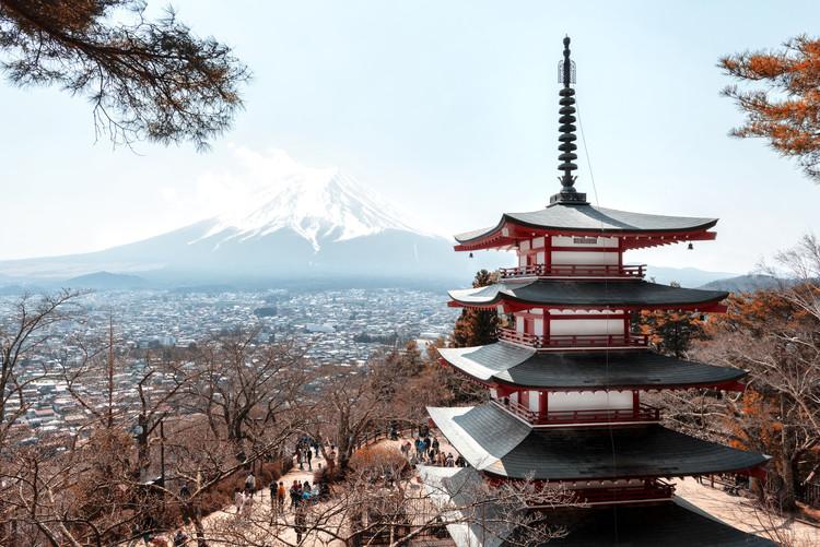 Taide valokuvaus Mt. Fuji with Chureito Pagoda