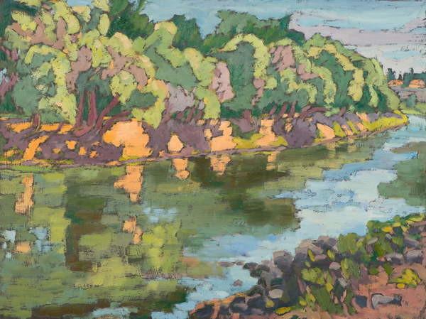 Fine Art Print On the Sunny Side of River Koros,  oil on board